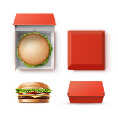 set of container with hamburger vector image