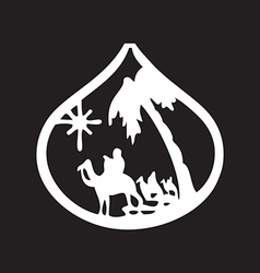 Adoration of the Magi silhouette icon on black vector image vector image