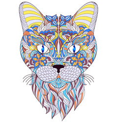 head of cat on white background vector image vector image