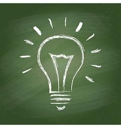 Light bulb idea chalk icon on green vector image vector image
