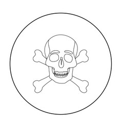 pirate skull and crossbones icon in outline style vector image vector image