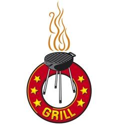 barbecue grill label - barbecue grill symbol vector image vector image