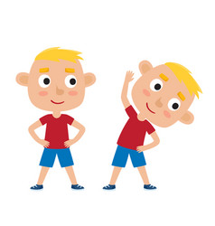 boy in exercise pose vector image vector image