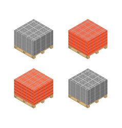 isometric wooden pallet with cinder blocks vector image vector image