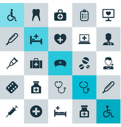 Medicine icons set collection of heal remedy vector