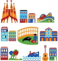 spain landmarks vector image