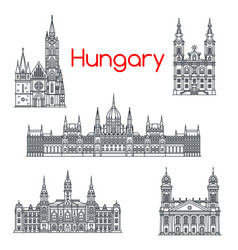 architecture hungary buildings icons vector image