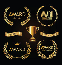 award golden retro banner on black background vector image