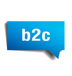 b2c blue 3d speech bubble vector image