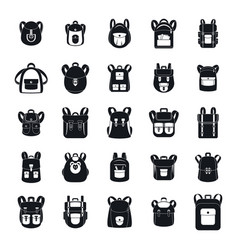 backpack school travel sport icons set simple vector image