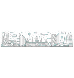 barcelona skyline line cityscape with building vector image