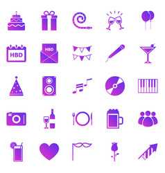 Birthday gradient icons on white backgound vector