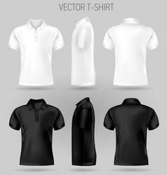 black and white short sleeve polo shirt design vector image