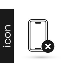 Black no cell phone icon isolated on white vector