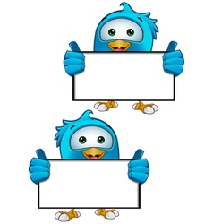 Blue Bird Holding Blank Sign vector