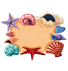 Border template with shells and starfish vector