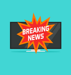 breaking news sign on tv screen vector image