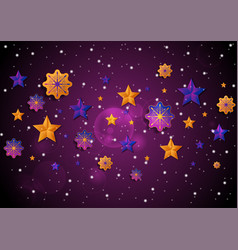 bright christmas stars and snowflakes abstract vector image