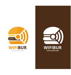 Burger and wifi logo combination hamburger vector