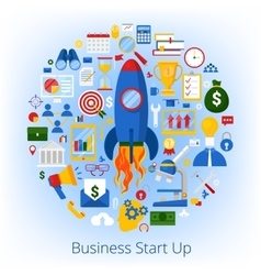 business start up concept with set icons vector image