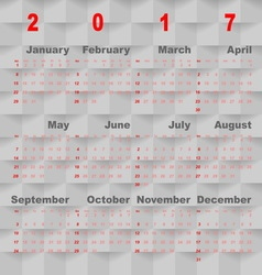 Business template of 2017 calendar on grey square vector