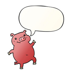 cartoon dancing pig and speech bubble in smooth vector image