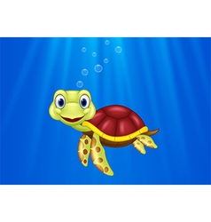 Cartoon sea turtle swimming in the ocean vector image