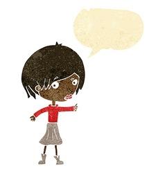 Cartoon woman raising eyebrow with speech bubble vector