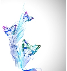 Colorful background with watercolor butterfly and vector image