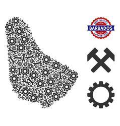 Composition barbados map of service tools vector