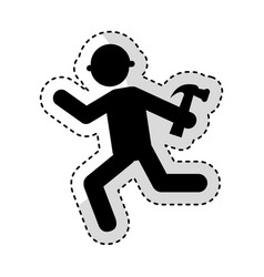construction worker with hammer avatar vector image