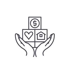 consumer insurance line icon concept consumer vector image