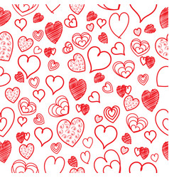 cute seamless doodle heart background vector image