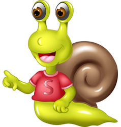 cute snail cartoon posing with smile vector image