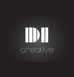 Di d i letter logo design with white and black vector