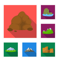 Different mountains flat icons in set collection vector