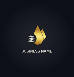 Droplet water cool gold logo vector