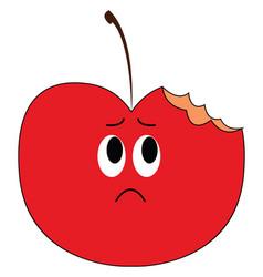 Emoji a sad half-bitten apple or color vector