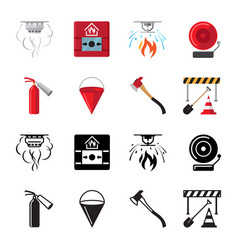fire safety flat icons of set vector image