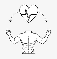 Flat line concept toned body fitness vector