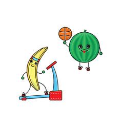 Flat sketch fruits vegetables doing sport vector