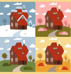 four seasons - set flat design style concepts vector image