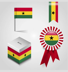Ghana country flag place on vote box ribbon badge vector