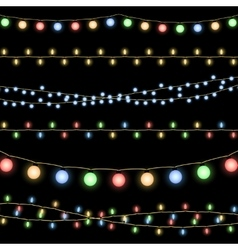 Glowing Christmas garlands background vector image