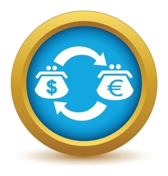 Gold dollar euro exchange icon vector image