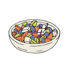 Greek salad in plate vector