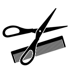 hairdressing scissors and comb vector image