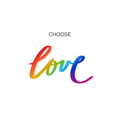 Handwritten lettering with lgbt flag against vector
