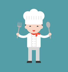 Happy cute chef holding big spoon and big fork vector