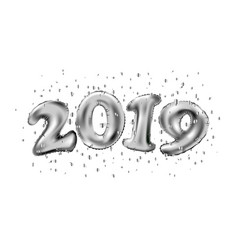 Happy new 2019 year holiday of silver metallic vector